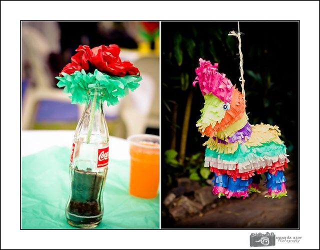South American Party Decor, Pinata, Tissue Paper flowers